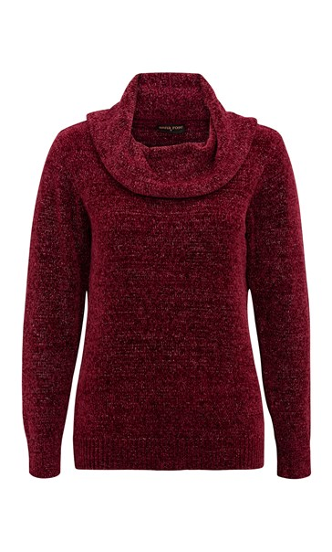 Anna Rose Cowl Neck Chenille Top Merlot - Gallery Image 2