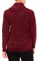 Anna Rose Cowl Neck Chenille Top Merlot - Gallery Image 3
