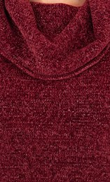 Anna Rose Cowl Neck Chenille Top Merlot - Gallery Image 4