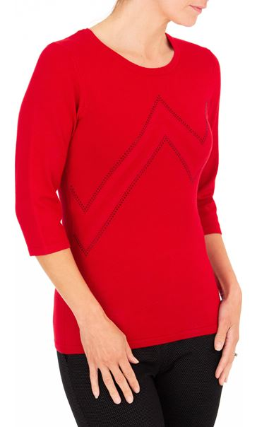 Anna Rose Embellished Knit Top Red