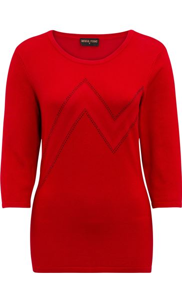 Anna Rose Embellished Knit Top Red - Gallery Image 2