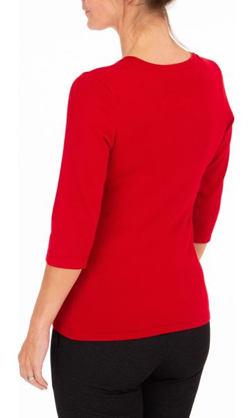 Anna Rose Embellished Knit Top Red - Gallery Image 3