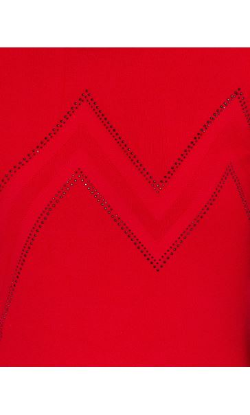 Anna Rose Embellished Knit Top Red - Gallery Image 4