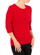 Anna Rose Embellished Knit Top Red - Gallery Image 1