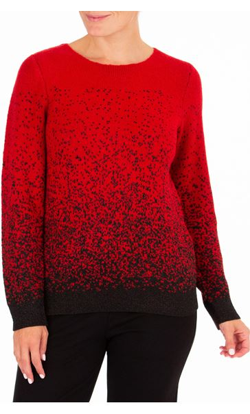 Anna Rose Long Sleeve Sparkle Knit Top Red/Black