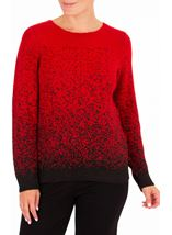 Anna Rose Long Sleeve Sparkle Knit Top Red/Black - Gallery Image 1