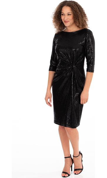 Shimmer Side Knot Dress Black