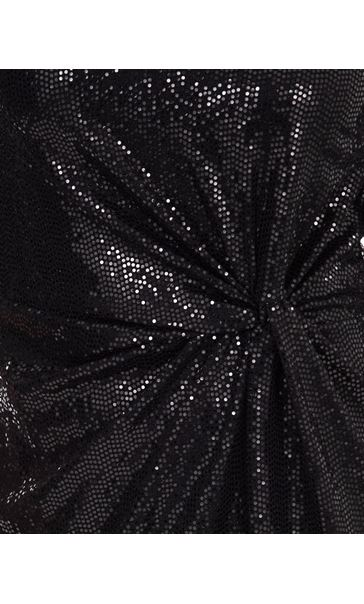Shimmer Side Knot Dress Black - Gallery Image 3
