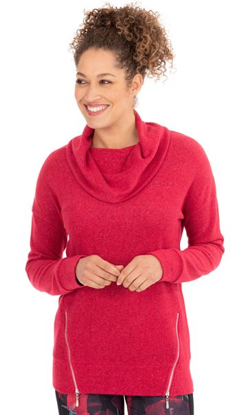 Cowl Neck Sports Top Red