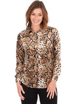 Long Sleeve Snake Print Velour Shirt