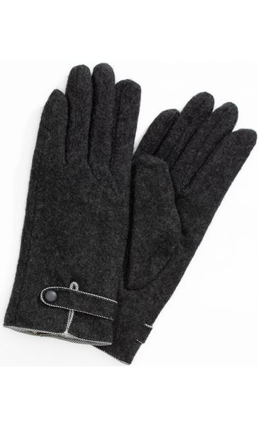 Anna Rose Faux Fur Lined Wool Blend Gloves Grey