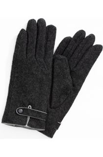 Anna Rose Faux Fur Lined Wool Blend Gloves - Grey