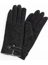 Anna Rose Faux Fur Lined Wool Blend Gloves Grey - Gallery Image 1