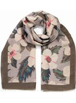 Anna Rose Lightweight Floral Print Scarf Olive - Gallery Image 1