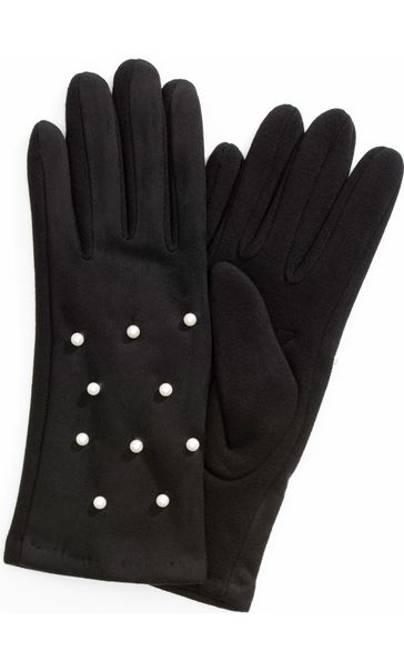 Faux Pearl Embellished Gloves Black - Gallery Image 1