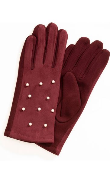 Faux Pearl Embellished Gloves Burgundy
