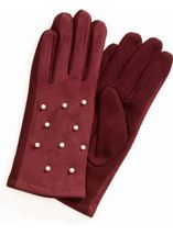 Faux Pearl Embellished Gloves Burgundy - Gallery Image 1