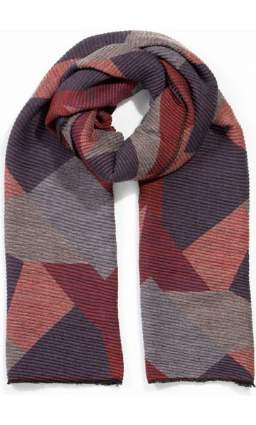 Printed Textured Scarf - Red