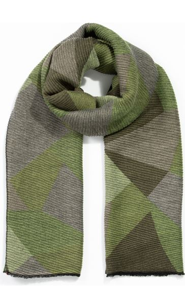 Printed Textured Scarf - Green