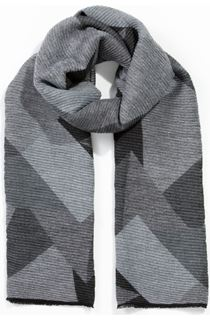 Printed Textured Scarf - Grey