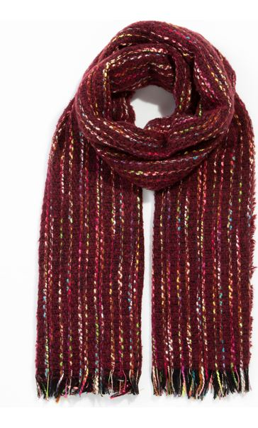 Multi Coloured Stripe Scarf Red