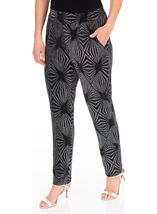 Metallic Pattern Tapered Pull On Trousers Black/Silver - Gallery Image 1