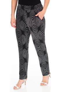 Metallic Pattern Tapered Pull On Trousers
