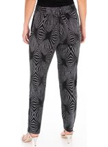 Metallic Pattern Tapered Pull On Trousers Black/Silver - Gallery Image 2