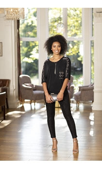 Embellished Relaxed Fitting Stretch Top
