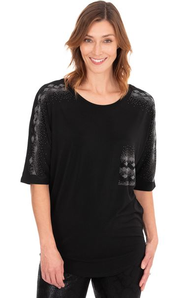 Embellished Relaxed Fitting Stretch Top Black - Gallery Image 2