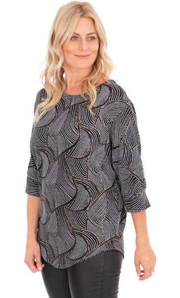 Patterned Glitter Relaxed Fit Top Black/Gold