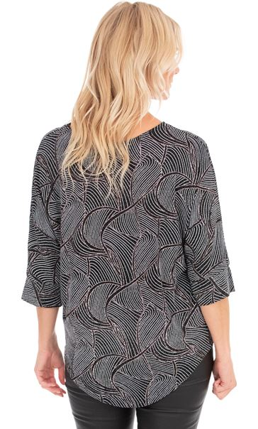 Patterned Glitter Relaxed Fit Top Black/Gold - Gallery Image 2