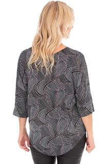 Patterned Glitter Relaxed Fit Top