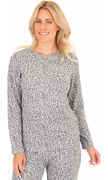 Long Sleeve Animal Print Sleepwear Top Grey