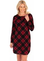 Long Sleeve Checked Nightie