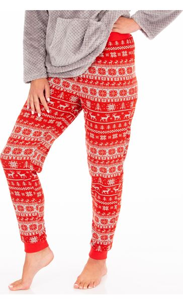 Festive Pyjama Bottoms Red/White - Gallery Image 1