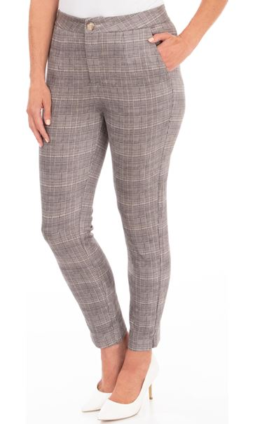 Slim Leg Suedette Check Trousers