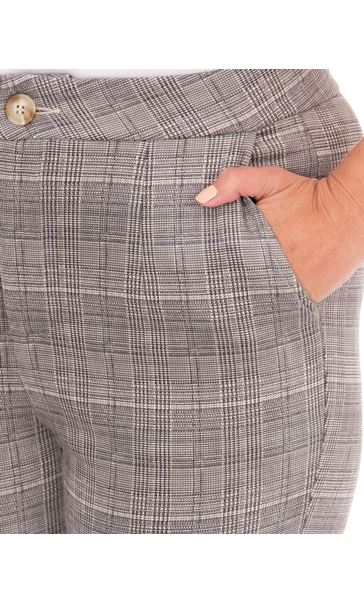 Slim Leg Suedette Check Trousers Grey - Gallery Image 3