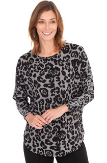 Embellished Animal Printed Batwing Knit Tunic
