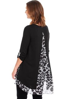 Oversized Animal Print Panelled Long Knit Top