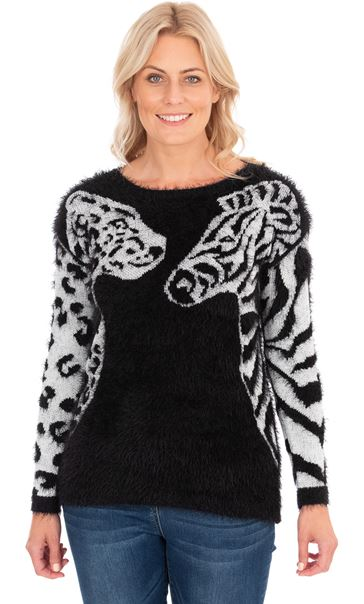 Animal Eyelash Knit Long Sleeve Top Black/Ivory