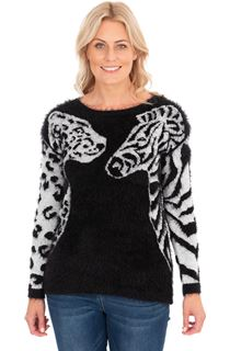 Animal Eyelash Knit Long Sleeve Top