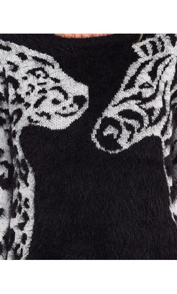 Animal Eyelash Knit Long Sleeve Top Black/Ivory - Gallery Image 3