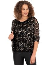 Sequin Fringed Open Mesh Cover Up Black/Gold - Gallery Image 1