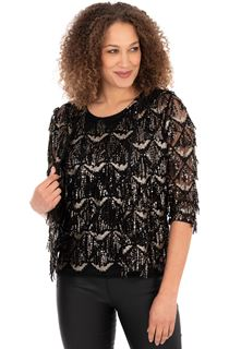 Sequin Fringed Open Mesh Cover Up