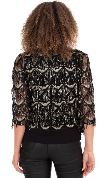 Sequin Fringed Open Mesh Cover Up - Black