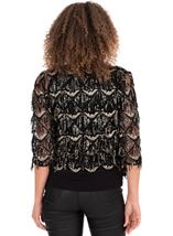 Sequin Fringed Open Mesh Cover Up Black/Gold - Gallery Image 2