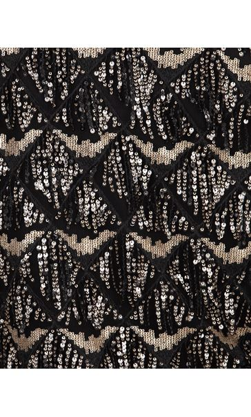 Sequin Fringed Open Mesh Cover Up Black/Gold - Gallery Image 3