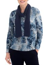 Anna Rose Printed Brushed Knit Top With Scarf Blue/Grey - Gallery Image 1