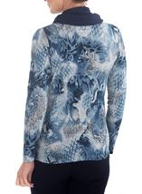 Anna Rose Printed Brushed Knit Top With Scarf Blue/Grey - Gallery Image 2